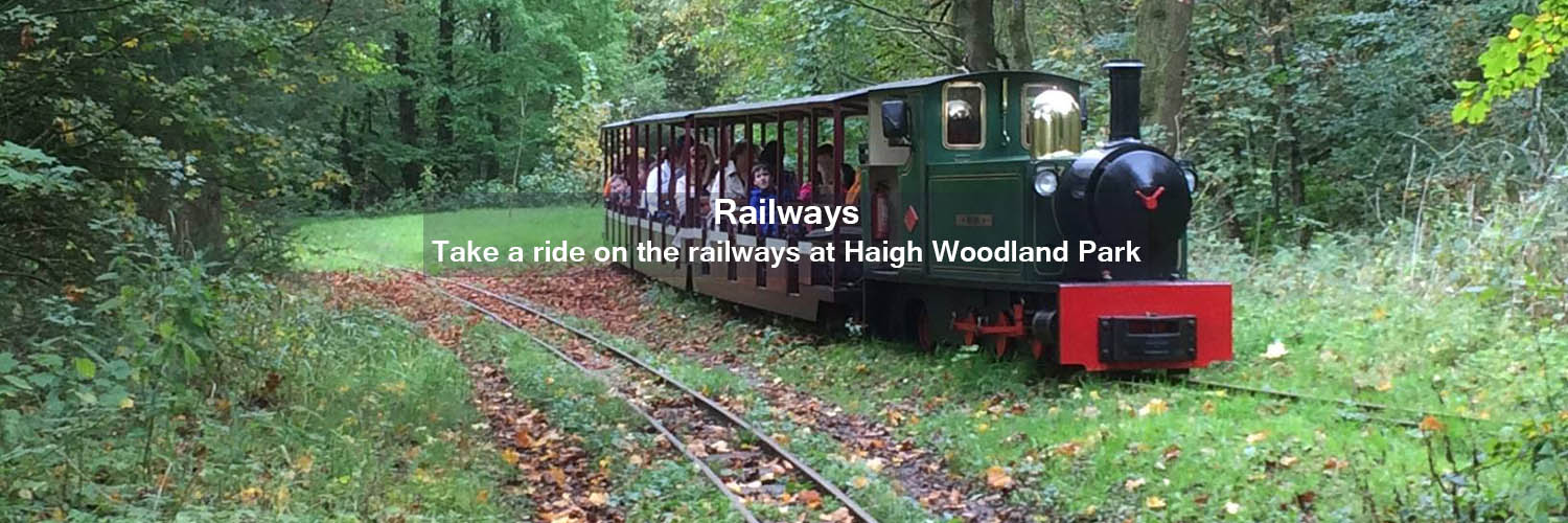 Miniature train from one of the two railways at Haigh Woodland Park